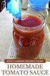 """Pinterest pin with an image of a jar filled with tomato sauce and a head-space measuring tool. Text overlay says, """"Homemade Tomato Sauce With Canning Instructions""""."""