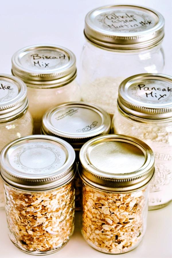DIY Pantry Mixes in Mason jars on counter