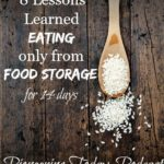 """Image of a wooden spoon full of rice. Text overlay says, """"8 Lessons Learned Eating Only From Food Storage for 14 Days""""."""