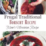 A pot filled with borscht and a woman's hands holding a large bundle of fresh dill.