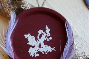 """Image of a homemade Christmas ornament with text overlay, """"Homemade Christmas Ornament using old canning lids""""."""