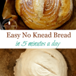 Pinterest pin with two images of artisan bread. The lower image is the dough, scored and ready to bake. The top image is the bread, golden brown and hot out of the oven.