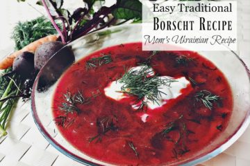 """Pinterest pin with three images. Top image is of a bowl filled with fresh veggies. Bottom images are of a white stock pot filled with borscht and a clear glass bowl with a serving of borscht and a dollop of sour cream. Text overlay says, """"Frugal Traditional Borscht Recipe: Mom's Ukrainian Recipe""""."""