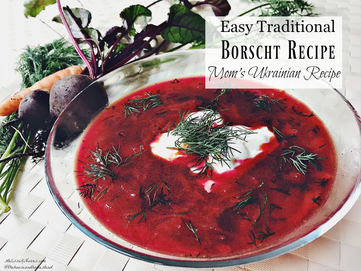 "Pinterest pin with three images. Top image is of a bowl filled with fresh veggies. Bottom images are of a white stock pot filled with borscht and a clear glass bowl with a serving of borscht and a dollop of sour cream. Text overlay says, ""Frugal Traditional Borscht Recipe: Mom's Ukrainian Recipe""."