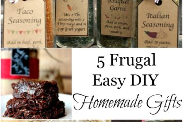 "Pinterest Pin containing several images including homemade spice jars, a plate of brownies, and a Mason Jar filled with homemade bread mix. Text overlay says, ""5 Frugal Easy DIY Homemade Gifts""."
