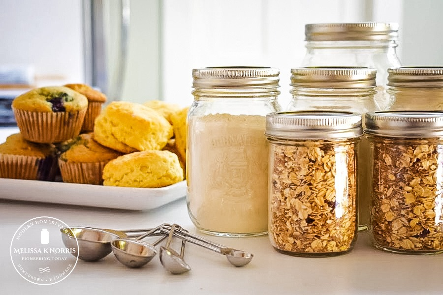 DIY Pantry Mixes in Mason jars on counter.