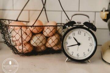 farm fresh eggs in a basket on counter