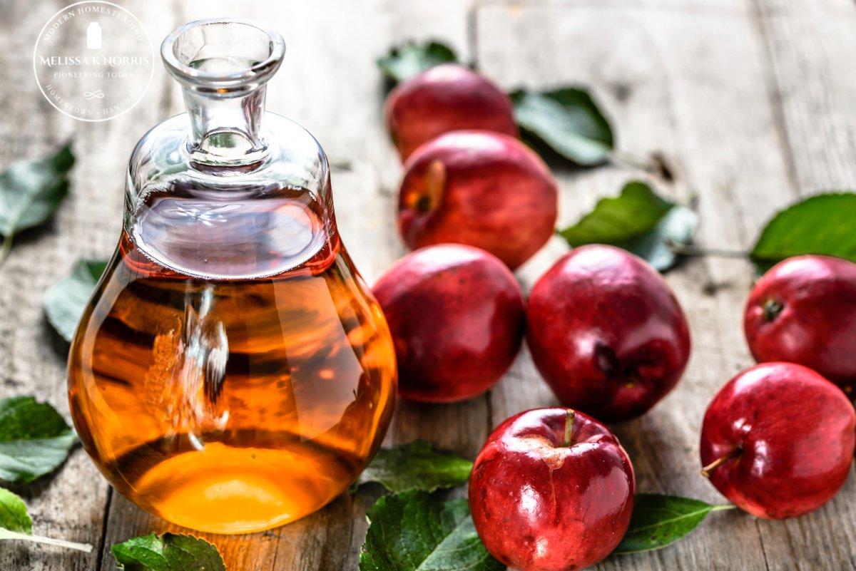 homemade fruit vinegar in bottle and apples on table