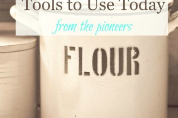 """Large crock with the word """"FLOUR"""" written on it. Text overlay says, """"100-Year-Old Basic Kitchen Tools to Use Today: from the pioneers""""."""