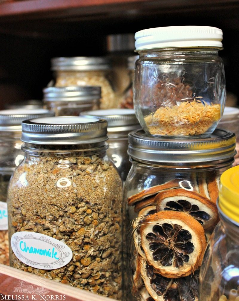 """Various sizes of mason jars with food in them. Text overlay says, """"7 Tips to Organize & Build Your Homestead Kitchen & Food Storage"""""""