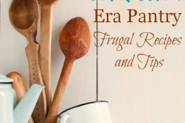 """Photo of two tin coffee mugs, three wooden spoons and a tin tea pot with text overlay that says, """"Building a Great Depression Era Pantry: Frugal Recipes and Tips - Pioneering Today Podcast""""."""