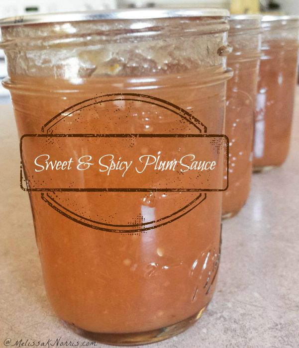 """Three mason jars filled with sweet and spicy plum sauce. Text overlay says, """"Sweet & Spicy Plum Sauce""""."""