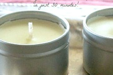 "Two tins filled with homemade candles. Text overlay says, ""How to Make Old-Fashioned Beeswax Candles""."