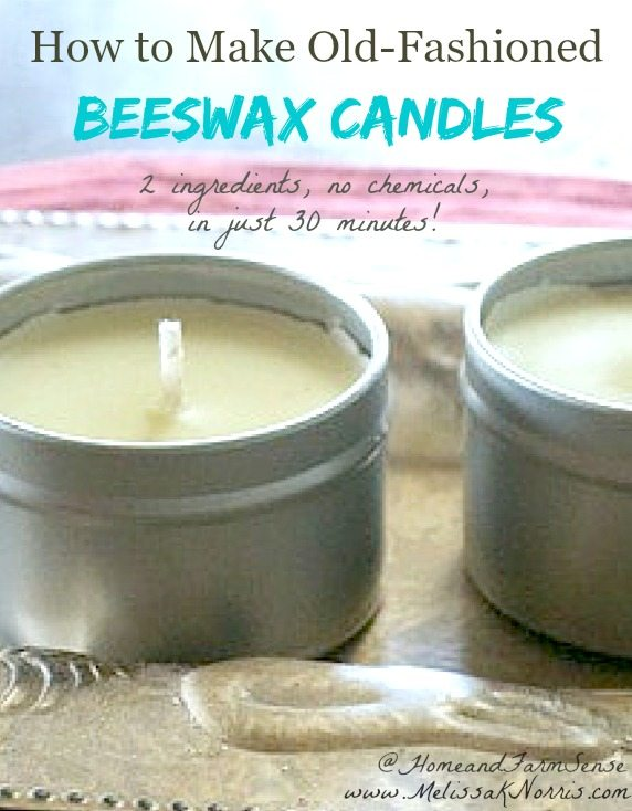"""Two tins filled with homemade candles. Text overlay says, """"How to Make Old-Fashioned Beeswax Candles""""."""
