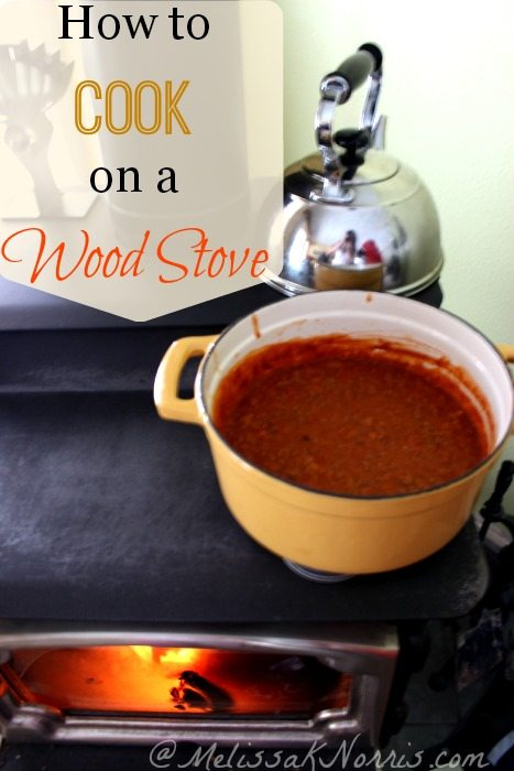 "Image of a wood stove with a large stock pot of soup on top. Text overlay says, ""How to Cook on a Wood Stove""."