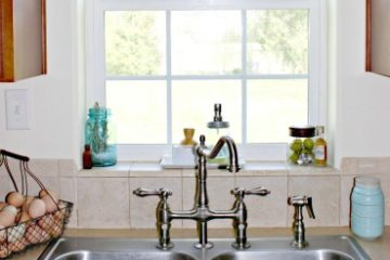 """Image of a sparkling clean stainless steel sink with a basket of fresh eggs to the side. Text overlay says, """"12 Tips to Declutter & Organize Your Homestead So it Actually Stays that Way - With 100 Year Old Strategies""""."""