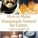 melted soy wax in pot, pouring soy wax into jars for homemade candles