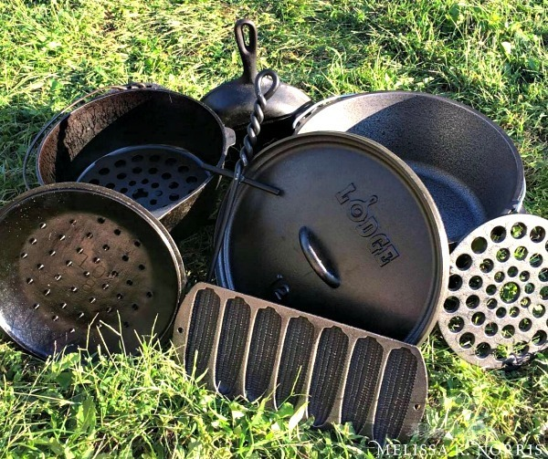 A bunch of cast iron cookware stacked in the grass.