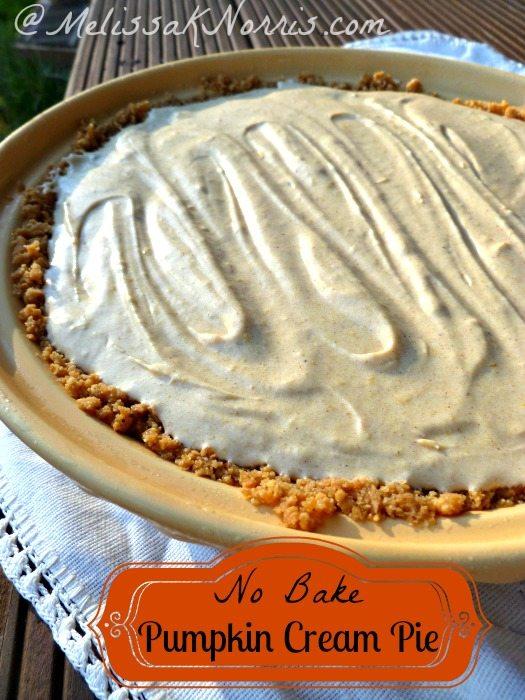 """Image of a pumpkin cream pie with text overlay, """"No Bake Pumpkin Cream Pie""""."""