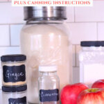 Pinterest pin for how to make apple pie filling. Image has ingredients needed for apple pie filling.