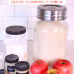 Pinterest pin with an image of the ingredients needed to make homemade apple pie filling.