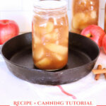 Pinterest pin with an image of jars of home canned apple pie filling.