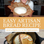 Pinterest pin with two images of homemade artisan bread.