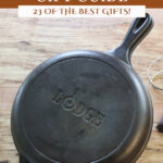 Pinterest pin with images of cast iron kitchen items for a homesteader's gift guide.