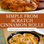 Pinterest pin with an image of chocolate caramel cinnamon rolls in a cast iron skillet.