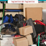 Pinterest pin on decluttering your home month by month. Image of a very messy garage.