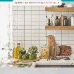 Pinterest pin on decluttering your home month by month. Images of a clean kitchen.