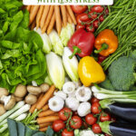 Pinterest pin with an image of a large produce harvest.