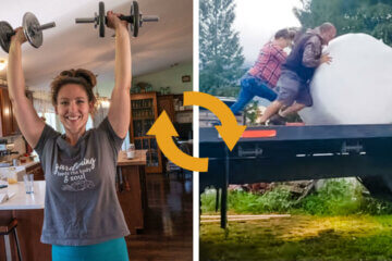 Two photos side by side, one of a woman lifting weights, the other of two people pushing a half-ton hay bale off a truck.