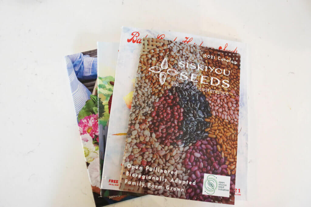 A stack of seed catalogs on a counter top.
