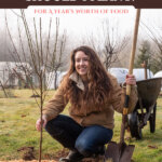 Pinterest pin for how many fruit and berry bushes to plant. Image of a woman kneeling next to a freshly planted bare root fruit tree.