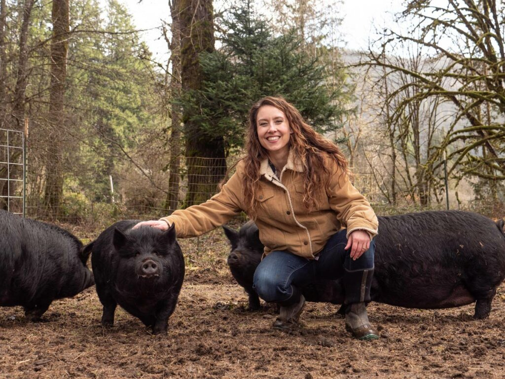 A woman crouched down next to four American Guinea Hogs out in the pasture.