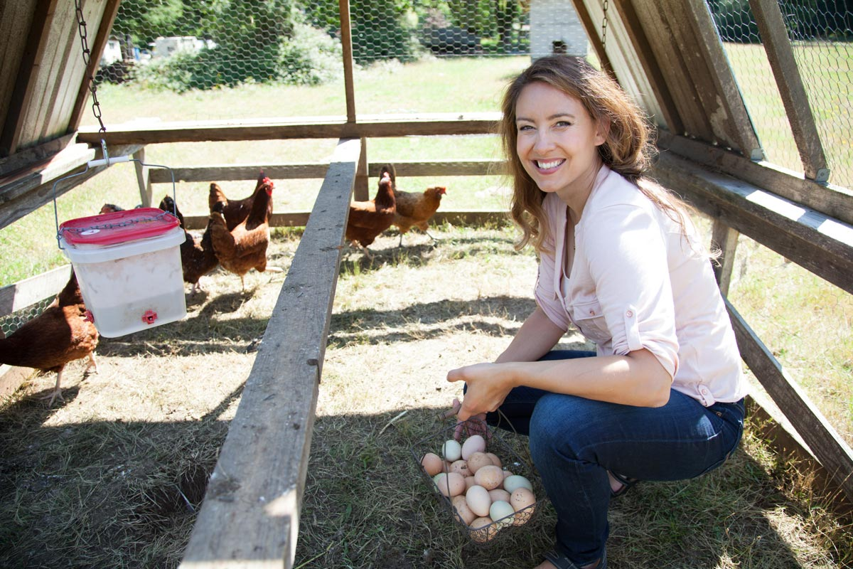 A woman crouched down inside a portable chicken tractor holding a basket full of eggs.