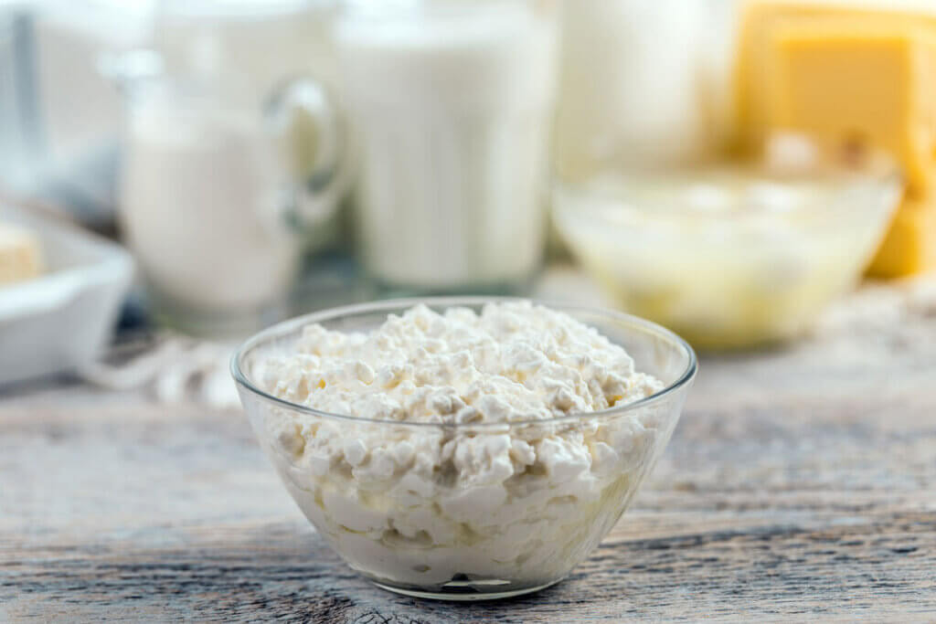 A bowl of cottage cheese in a glass bowl with other milk products in the background.