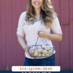 A Pinterest pin for how to raise backyard chickens for eggs with an image of a woman holding up a wire basket full of farm fresh eggs.