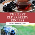 Pinterest pin for elderberry recipes with an image of elderberry tea and elderberry gummies.