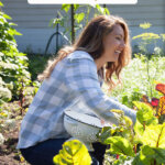 Pinterest pin for beginning gardener tips with an image of a woman in a vegetable garden.