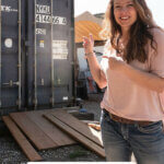 Pinterest pin about homesteading myths. Photos of a woman pointing to a large shipping container.