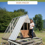 Pinterest pin about homesteading myths. Photos of a woman standing on a chicken tractor.