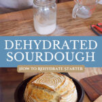 Pinterest pin for rehydrating a dehydrated sourdough starter. Images of sourdough starter in a jar and a loaf of homemade sourdough bread.