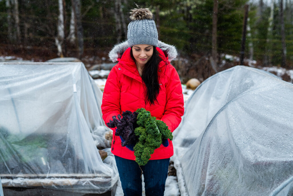 A woman holding a handful of fresh picked kale, standing in the garden surrounded by covered raised garden beds.