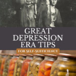 Pinterest pin on tips from the Great Depression. Old images of Great Depression times.