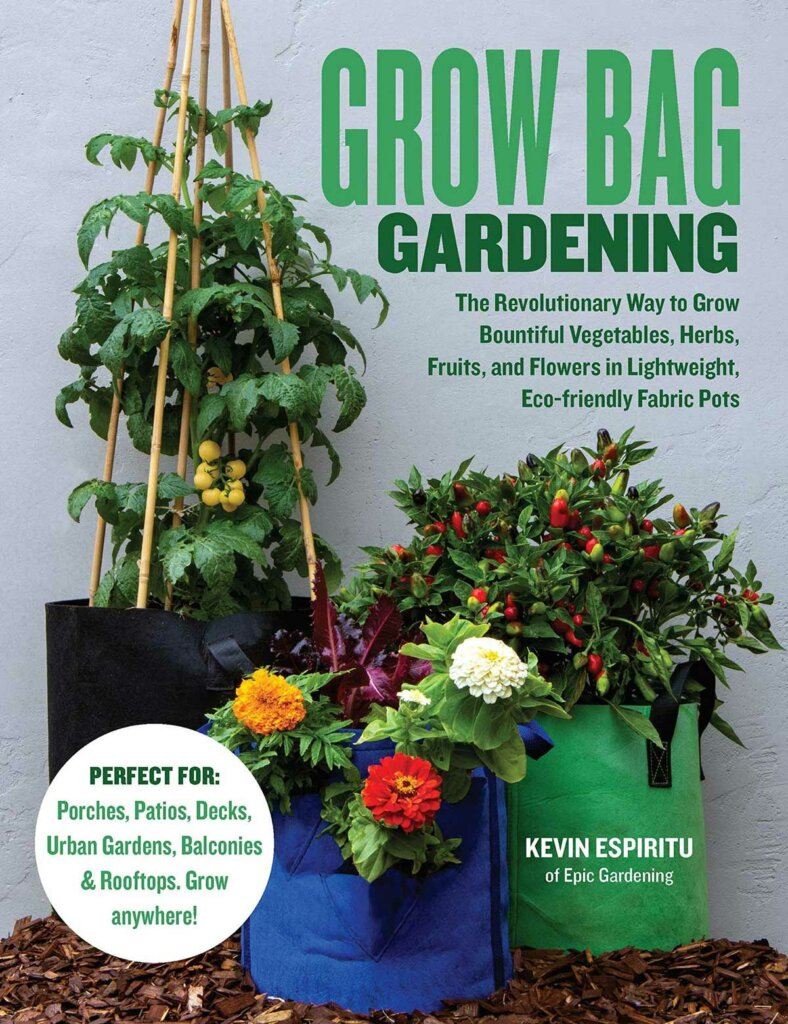 Book cover for Grow Bag Gardening by Kevin Espiritu.