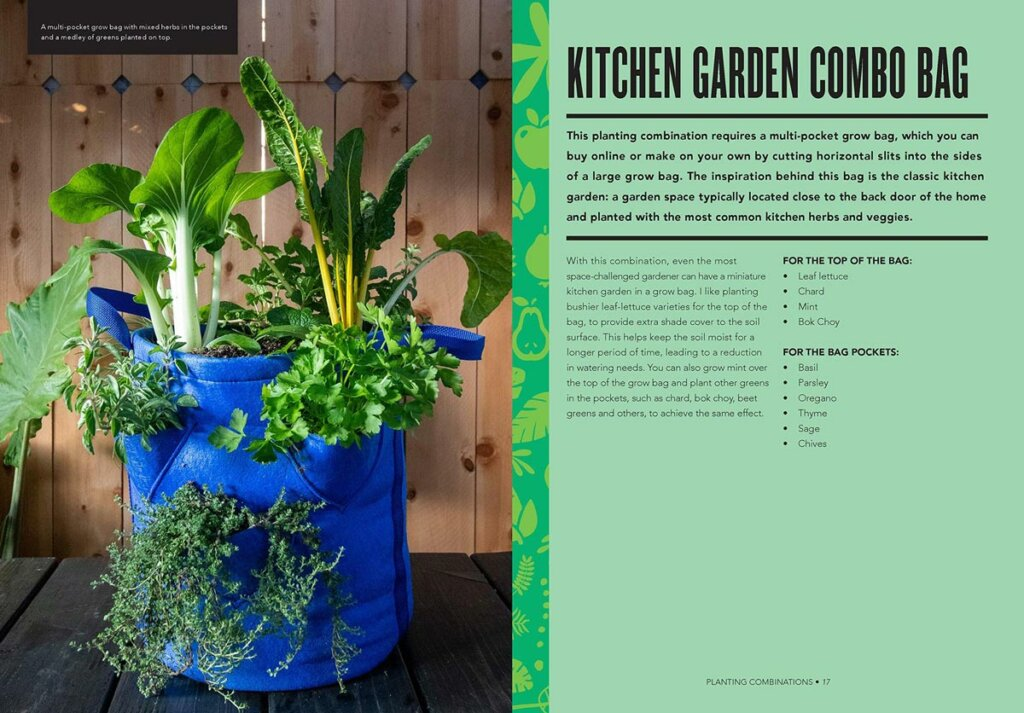 Image of a book with a grow bag on the left side and growing a kitchen garden in a grow bag on the right.