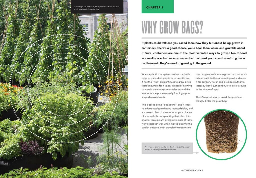 Inside page of a book with a photo of a beautiful garden on the left side and a page on why to grow in grow bags on the right.