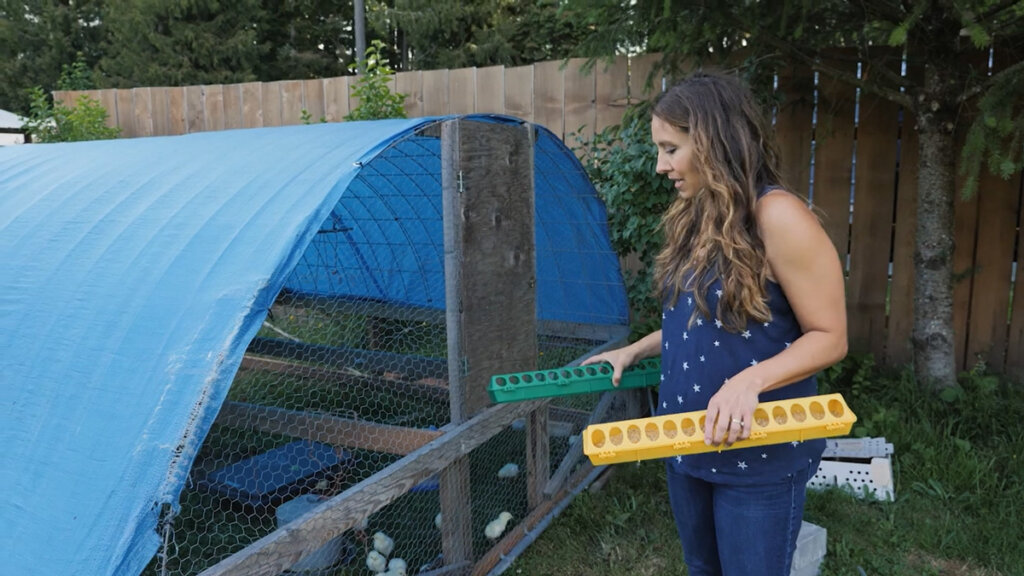 A woman standing beside a mobile chicken coop holding two feeders.
